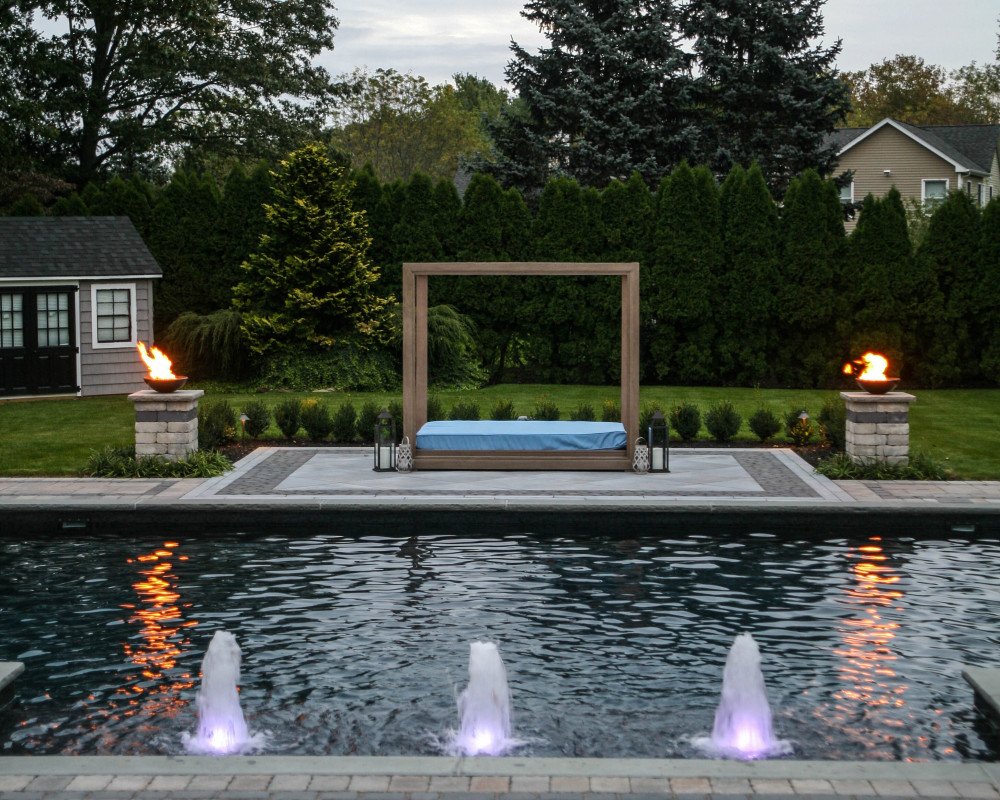 This pool was designed by Barry Bros. with the homeowners children in mind, needless to say they cant stop playing with the bubblers!