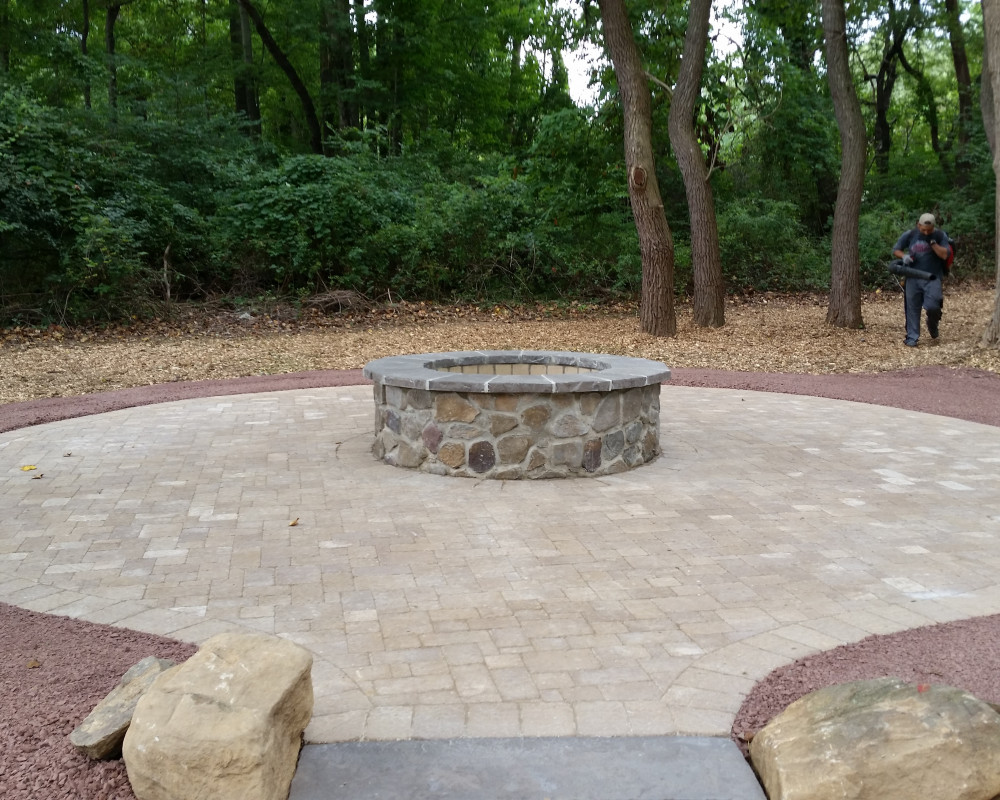 ScapeWorx Fire Pit & Circular Patio in Garnet Valley, PA with Techo-Bloc Elena - Mojave Beige Pavers