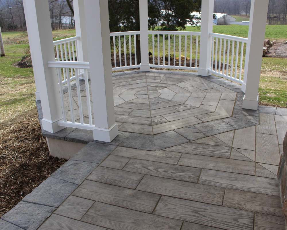 This porch and built-in gazebo are highlighted by Borealis in an octagonal pattern.