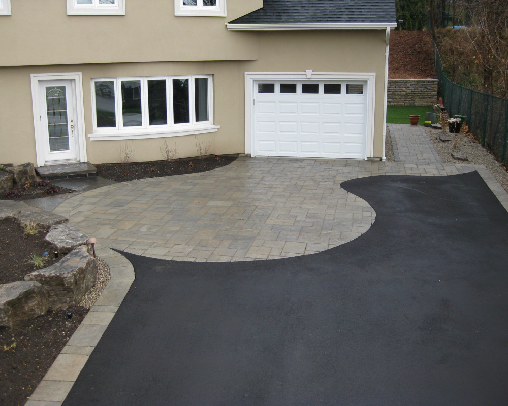 Driveway border and accent insert plus walkway.