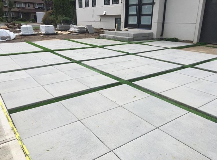 Techo-Bloc Industria Slabs with Turf Grass inlay